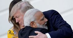 Indian Prime Minister Narendra Modi's embrace appeared to catch the President off-guard as the pair left the White House