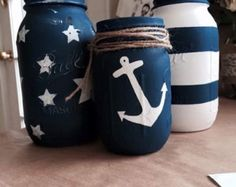 Denim & Lace Mason Jars by RelaxandWineDown on Etsy