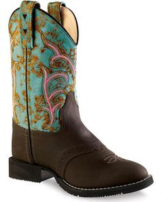 Old West Girls' Distressed Turquoise Western Boots - Round Toe