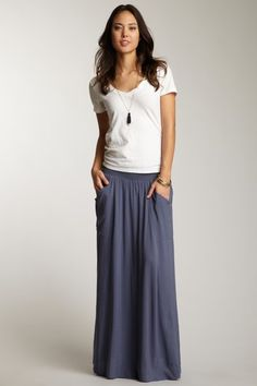 annalee  solid maxi skirt with smocking