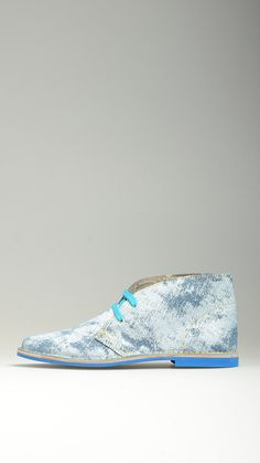 Azure pattern suede lace-ups desert boots featuring turquoise cotton laces, polka-dot lining in dove grey, antioxidant eyelets, leather midsole, contrast blue rubber sole, raw edge stitching, 100% finest suede and split grain leather.