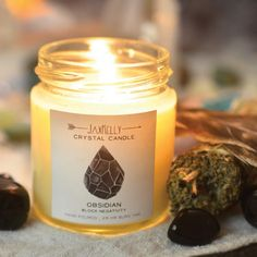 Clear the energy of your space with a Black Obsidian Crystal Candle. Burn these candles in any room that feels heavy, as obsidian blocks negativity, reinforces positive thoughts and eliminates mental stress.