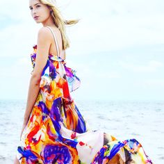 Watercolor printed silk chiffon  maxidress by Uli Herzner Design