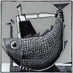 """Evan III"" by David Witbeck. Available at Maine Art Paintings… Design Graphique, Art Graphique, Linocut Prints, Art Prints, Block Prints, Illustrations, Illustration Art, Art Textile, Monochrom"