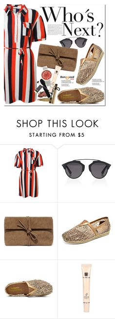 """""""Block Stripe"""" by oshint ❤ liked on Polyvore featuring Christian Dior, Lulu*s, awesome, amazing, stripes, dress and BangGood"""