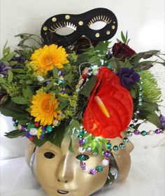 Ready for the Masquerade? This table centre is! Table Centers, Corporate Events, Masquerade, Party Themes, Centre, Seasons, Flowers, Table Centerpieces, Centerpieces