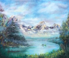 Morning in mountains by Nino Ponditerra Landscape Paintings, Oil Paintings, Original Paintings, Landscapes, Oil On Canvas, Canvas Prints, Art Prints, Palette Art, Mountain Paintings