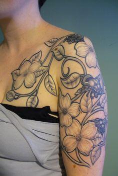 art nouveau flower tattoo