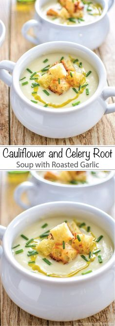 The ultimate in vegetarian comfort food: Cauliflower and Celery Root Soup with Roasted Garlic.  | www.cookingandbeer.com