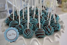 Cute! Baby boy shower cake pops