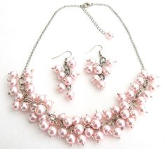 5.00 Soft Pink Pearl Chunky Beaded Necklace With Earring Bridal Gift Free Shipping In USA