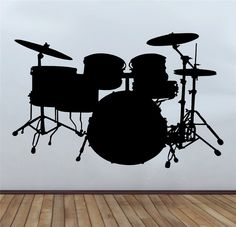 Drum Kit Rock And Roll Music Wall Art Sticker Decal Wall Transfer Bedroom Music Bedroom, Wall Transfers, Music Wall Art, Silhouette Curio, Drum Kit, Gabriel, Hip Hop Art, Kids Cards, Drums