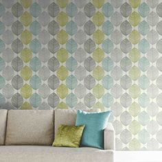 Arthouse Retro Leaf Wallpaper in Teal and Green - 408207
