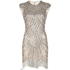 1920s Flapper Dresses ❤ liked on Polyvore featuring dresses, beaded fringe dress, fringe flapper dress, beaded flapper dress, roaring 20s dress and fringe cocktail dress