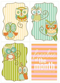 freebie of the month club : owl art