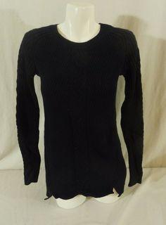 NlWT Nautica Tunic Cable Knit Ladies Womens Sweater Navy Blue Medium #Nautica #CrewneckCableTunic
