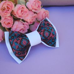 EMBROIDERED dark brown mint striped bowtie Fluga For groom and groomsmen Fiancee Mariage Noeud papillon Groomsmen bow ties Men's bow tie by accessories482 on Etsy