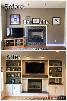 Creative And Inexpensive Cool Tips: Black Fireplace Wall old fireplace remodel.C Creative And Inexpensive Cool Tips: Black Fireplace Wall old fireplace remodel. Cabin Fireplace, Fireplace Shelves, Fireplace Built Ins, Fireplace Remodel, Living Room With Fireplace, Fireplace Design, Living Room Decor, Basement Built Ins, Built In Electric Fireplace