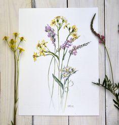 """Купить Картина акварелью """"Полевые цветы"""" - комбинированный, цветы, полевые цветы, букетик, нежность, акварель"""
