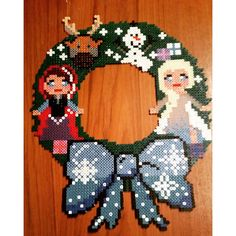 Frozen wreath hama beads by misse07