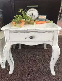 """Just finished upcycling this gorgeous coffee & end table matching set. Do not want to separate. These are Hammary brand, nice solid wood. All drawers work beautifully. Painted Heavy Cream chalk paint over black, then distressed & clear waxed for protection. All new hardware was then put on. Absolutely gorgeous & matches with any decor.  Coffee table measures 42"""" wide x 24"""" deep x 16.5"""" tall.  End table measures 23"""" wide x 27"""" deep x 21.5"""" tall.  Asking $295 for the set."""