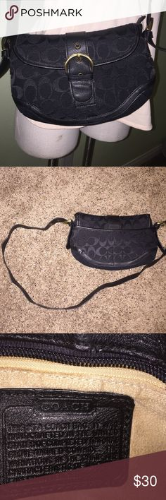 "Vintage Coach purse Black. 20"" long adjustable shoulder strap. Classic Coach design. Zips shut with a zipper pocket and 2 smaller pockets inside. In very good condition. Some peeling on shoulder strap and signs of wear on metal parts. And pen marking inside at very bottom which is seen in last pic. 10.5"" wide by 7"" tall by 2"" deep. Coach Bags"