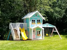 An adorable Dollhouse Style Playset by Imagine THAT! Playhouses & More. Kids Playhouse Plans, Girls Playhouse, Backyard Playhouse, Build A Playhouse, Wooden Playhouse, Backyard Playground, Backyard For Kids, Parker Playhouse, Wooden Playset
