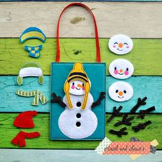 snow man, quiet toy, busy book pages, boy toys, toys, pretend play,toddler / busy bag / busy book / build a snowman / felt toys / eco toys
