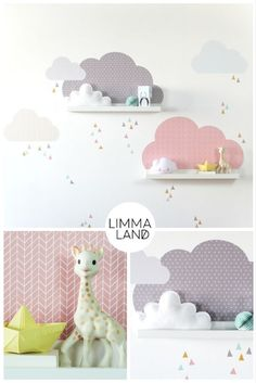 Clouds Nursery design with wall decals suitable for the IKEA Mosslanda (f . - Clouds Nursery design with wall tattoos suitable for the IKEA Mosslanda (formerly: RIBBA) picture b - Baby Bedroom, Baby Boy Rooms, Baby Room Decor, Nursery Room, Girls Bedroom, Bedroom Ideas, Ikea Mosslanda, Ikea Picture Frame, Ikea Pictures
