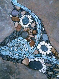 Pebbles — Winding Path Custom Stone Masonry – Famous Last Words Pebble Mosaic, Stone Mosaic, Pebble Art, Mosaic Art, River Rock Landscaping, Landscaping With Rocks, Backyard Landscaping, Landscaping Ideas, Backyard Patio