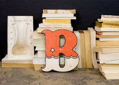 Distressed Carnival Style Wood Letter B Red and White. $35.00, via Etsy. #distressedwood #redletter