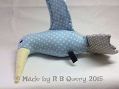 Hummingbird out of cotton  blue grey & yellow with by RBQuery