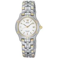 Seiko Women's Le Grand Sport Two Tone Stainless Steel Watch ($263) ❤ liked on Polyvore featuring jewelry, watches, multicolor, sport wrist watch, seiko watches, seiko wrist watch, sport watch and water resistant watches