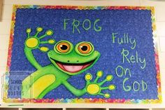 This FROG bulletin board is perfect for all parochial classrooms! School Welcome Bulletin Boards, Frog Bulletin Boards, Religious Bulletin Boards, Christian Bulletin Boards, Birthday Bulletin Boards, Bulletin Board Borders, Welcome To School, Church Bulletin Boards, Bulletin Board Display