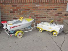 Pedal car...and a pedal boat.... ON a trailer!!! Seriously??? Seriously?