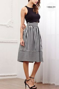 We wouldn't want you to be running out of options with stylish and classy items in your wardrobe so add this striped midi skirt in to the mix. Shop it here.