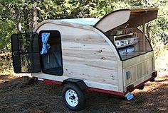 The hickory wood custom made wooden teardrop trailer for sale.