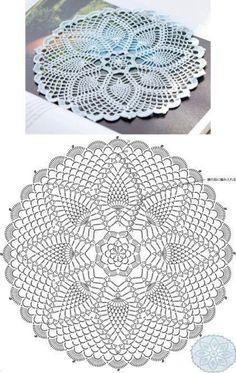 Motif Mandala Crochet, Free Crochet Doily Patterns, Crochet Doily Diagram, Crochet Circles, Crochet Chart, Crochet Designs, Thread Crochet, Crochet Dollies, Pineapple Crochet