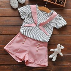 Infants Clothes Set Girls Baby Summer Clothes Set Cotton Striped Shirt With Pearl Pants 2 pcs Clothing Suit Outfits Baby's Baby Girl Frocks, Frocks For Girls, Dresses Kids Girl, Little Girl Outfits, Kids Outfits Girls, Little Girl Fashion, Kids Fashion, Kids Frocks Design, Cute Baby Clothes
