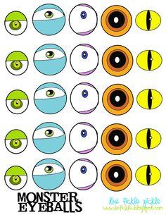 monster eyeball printable for top of Halloween treats