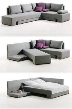 20 Pieces of Convertible Furniture You'll Actually Use Corner Suite Vento (price upon request): Here's a spacious corner couch that can easily be transformed into one double bed or two twin beds, making it the perfect piece for those who love to entertain Smart Furniture, Space Saving Furniture, Living Room Furniture, Home Furniture, Living Room Decor, Furniture Design, Furniture Ideas, Modern Furniture, Rustic Furniture