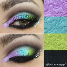 Bright & colorful eyeshadow look with the Aquataenia palette by Lime Crime. WANT LIME CRIME Love Makeup, Makeup Art, Makeup Tips, Makeup Looks, Hair Makeup, Fun Makeup, Stunning Makeup, Bb Beauty, Beauty Make Up