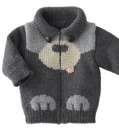 """This is in Japanese, but there are the cutest things to knit for babies! Good inspiration, even if there are no instructions [ """"knit baby sweater (no tutorial)"""", """"Puppy dog sweater: I don"""