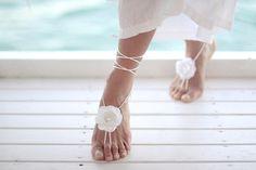 Solo sandalia descalzos de flor blanca brazalete pulsera