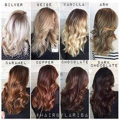 Tone differences between each color thanks Larisa for the chart|| #regram #hairbylarisalove ...