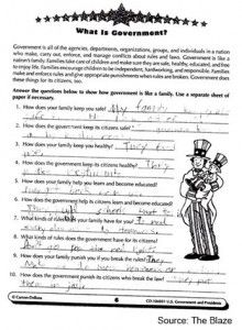 U.S. Elementary School Homework Teaches Kids 'Government Is Family' If you are a public school student in America, apparently Uncle Sam literally believes he's your uncle.