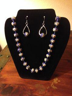 Cloisonne bead necklace & earrings