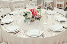 totally realistic and beautifully done round table. love the flower, menu, water, etc. | the Nichols photo team | #centerpiece #tablesetting #tablescape #weddingdecor