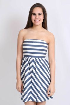 By The Sea Nautical Navy and White Dress $36...Free Shipping Over $50