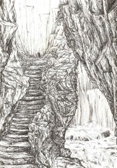 My illustration for the Chapter 'Flight of the Dragon'. Korrun shows Wendya, Mr. Agyk and Gralen to the secret passageway behind the Falls of Tarro in Kallorm, that lead down to the labyrinth of catacombs below the city.